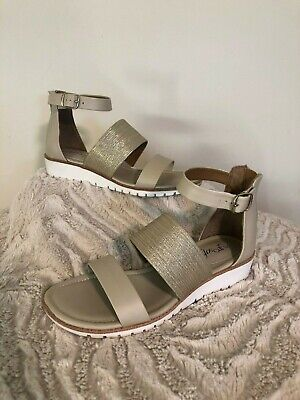 Sofft Sandals Size 6.5M Euro Soft Gold Beige Buckle Ankle Strap Flats ()