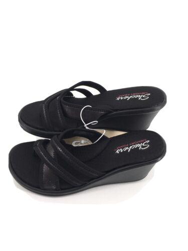 Skechers Womens Happy Dayz Slides Sandals Black Memory Foam