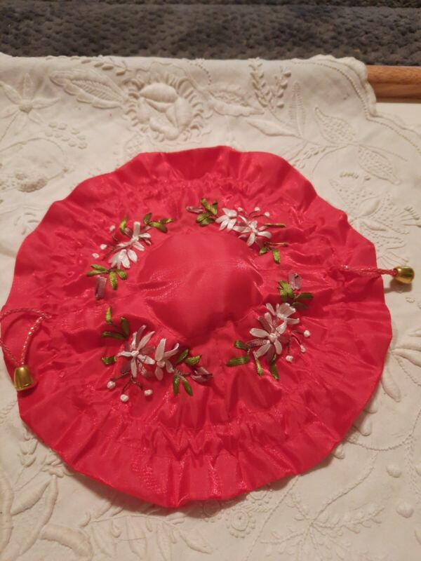 """Ribbon Embroidered Jewelry Drawstring 8 Pocket 10"""" Pouch"""