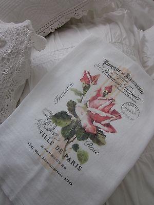 Charning PINK Rose Ville De PARIS Tea Towel FRENCH Inspired Kitchen DECOR