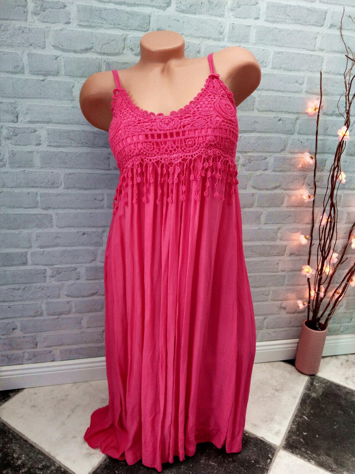 made in ITALY Mode Kleid ❤ 34 36 38 S / M Häkel Spitze PINK Hängerchen IBIZA neu