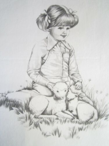 Tri-chem Girl & 2 little Lambs / Sheep Springtime Vintage Sweet Picture to paint