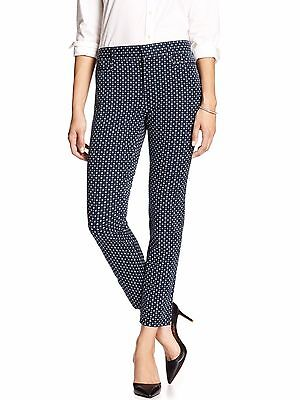 Banana Republic Women Jackson Fit Navy Print Slim Ankle Pants Sz 4 NWT