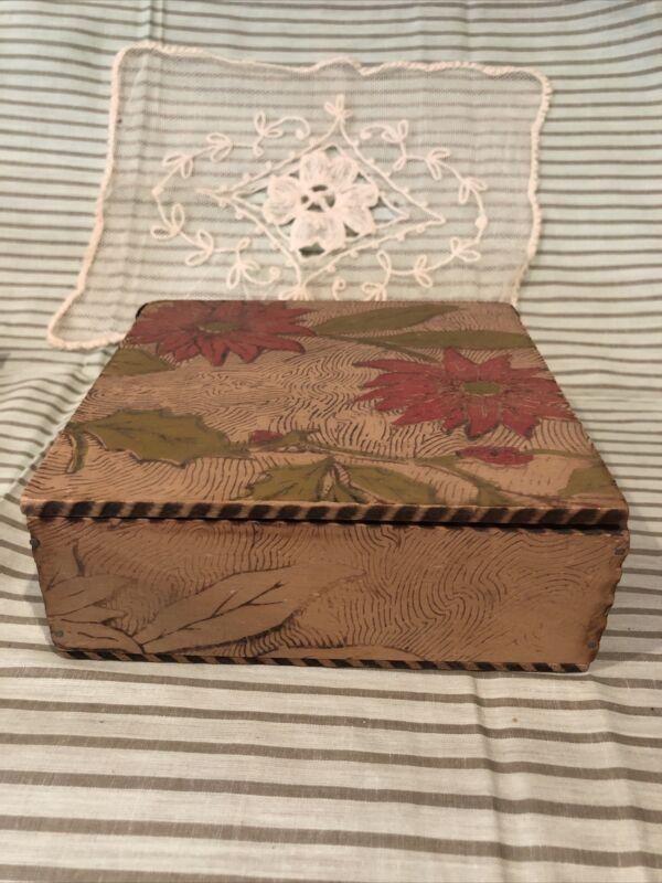 Gorgeous antique homemade wooden art nouveau trinket box poinsettia flowers