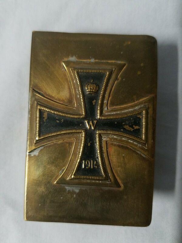 WW1 German Iron Cross Brass Matchbox Holder
