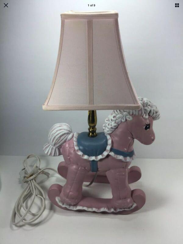 Baby Nursery Light Blue  And Pink Rocking Horse Nursery Lamp Baby Room Decor