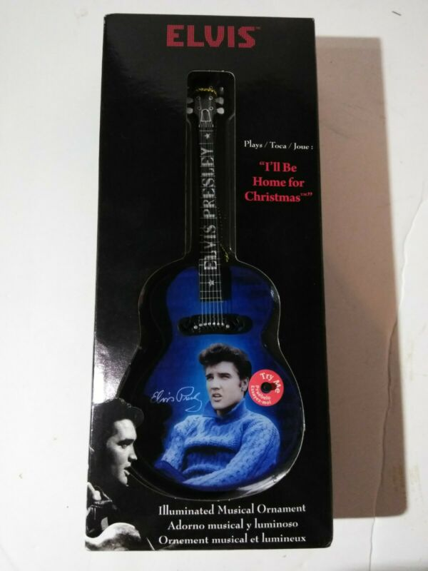 Rare Elvis Illuminated Musical Christmas Ornament Guitar Blue Christmas (openbox