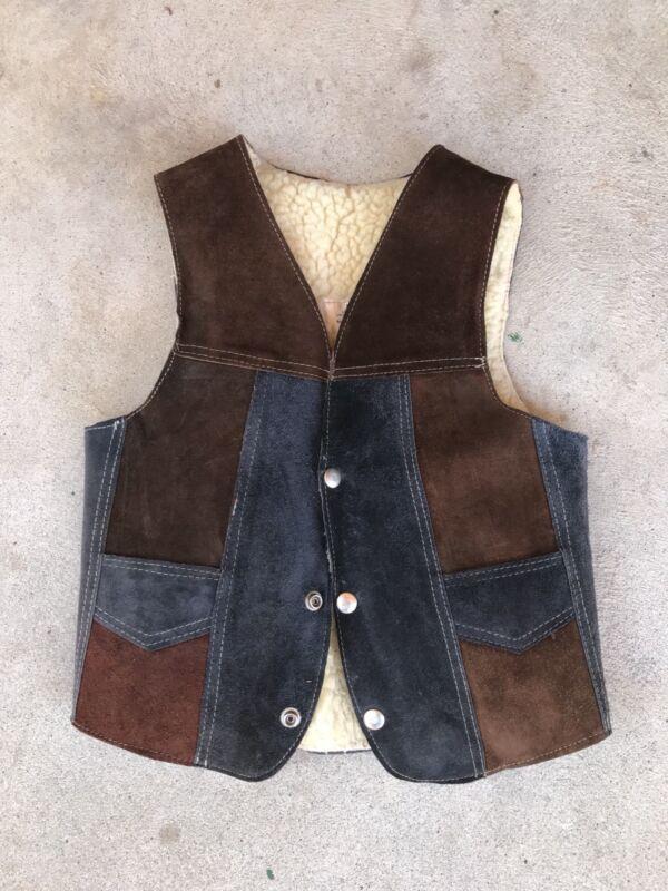 Vintage Childs Leather Vest Lined Snap Pockets