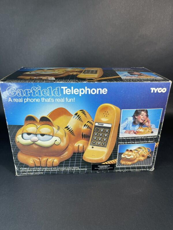 Vintage 1984 Garfield Cat Telephone Phone Eyes Open & Close Tyco Complete In Box