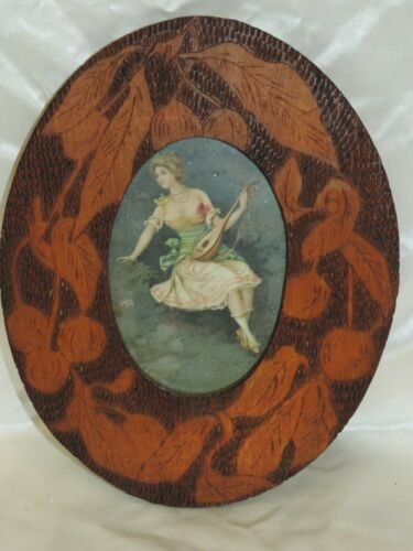 VINTAGE PYROGRAPHY FLEMISH WOOD FOLK ART OVAL PICTURE FRAME VICTORIAN WOMAN