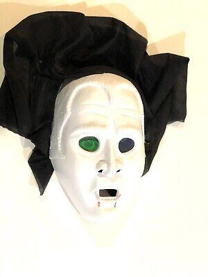 VTG Blow Mold Holographic Dracula Halloween Mask Costume Plastic Vampire Rare