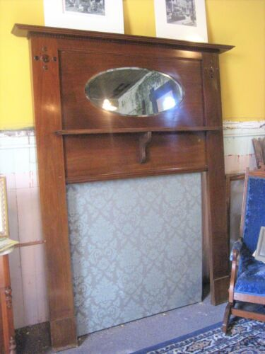Late Victorian/Early Arts & Crafts Fireplace Mantle w/Mirror