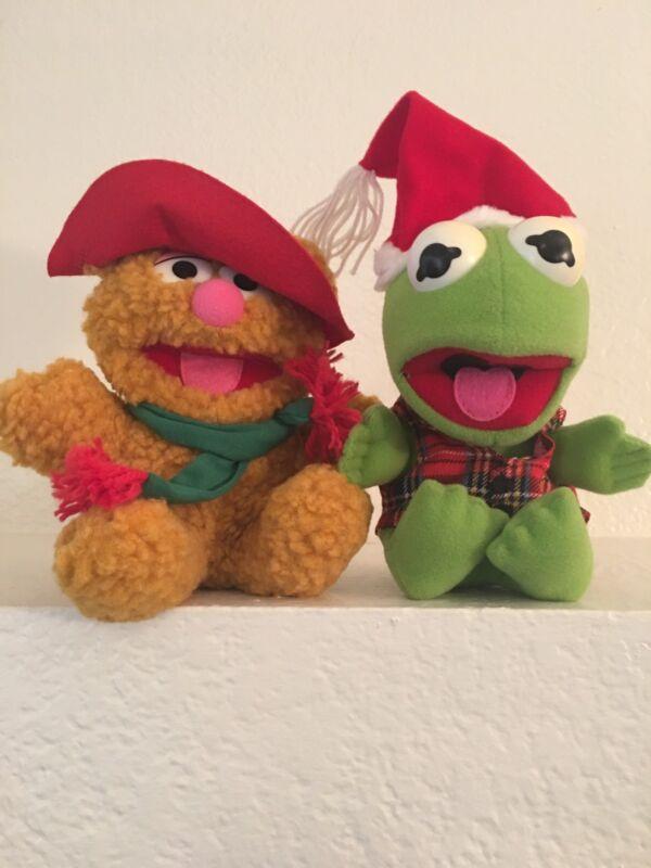Vintage Christmas Muppet Babies Plush Fozzie Bear & Kermit The Frog ...