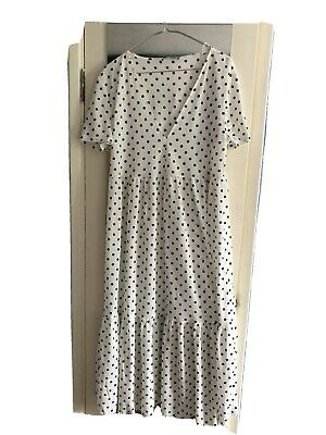 ZARA NEW WHITE BLACK POLKA DOT MIDI DRESS MIDI SIZE  M