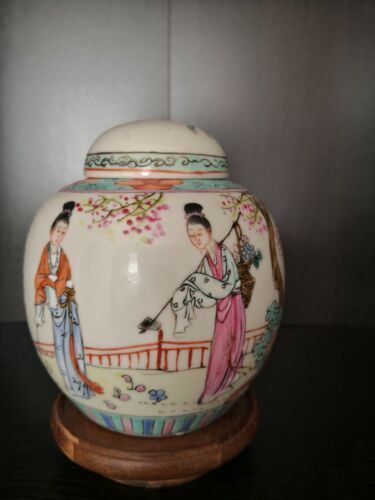 Chinese jar with hand painted figural