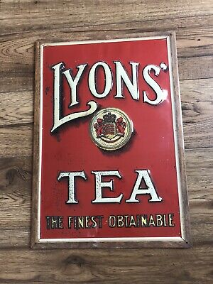 Lyons Tea VINTAGE ENAMEL METAL TIN SIGN WALL PLAQUE 34cm x 49cm