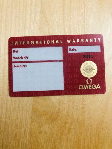 Authentic Open Original Omega International Warranty Cert Card 2011