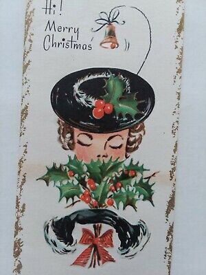 1950s Hats: Pillbox, Fascinator, Wedding, Sun Hats 1950s Vtg LADY w Black Gloves CHRISTMAS Hat Slim & Prim CHRISTMAS GREETING CARD $7.00 AT vintagedancer.com