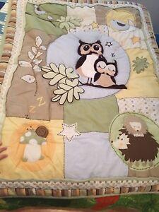 Literie hibou, couvre-lit, draps, bassinette