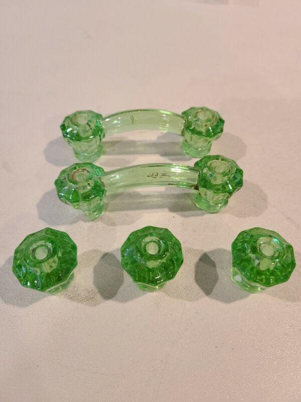 Vintage Green Glass Cabinet Drawer Pulls Set of 5