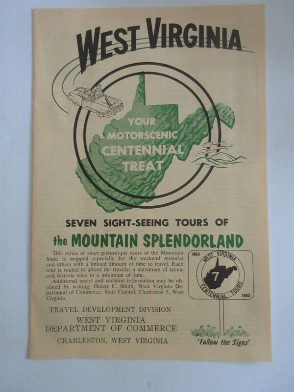 1963 West Virginia seven sight-seeing tours The Mountain Splendorland brochure
