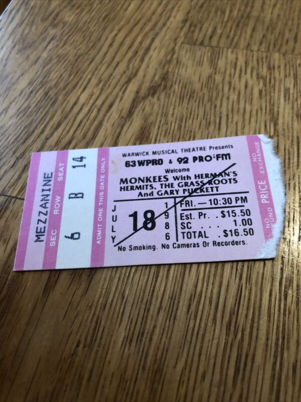 The Monkees Concert Ticket Stub 1986 Herman's Hermits The Grass Roots G.Puckett