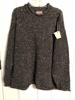 NWT Triona Design XXL Gray Tweed Ardara Co Donegal Ireland 100%Pure Wool Sweater