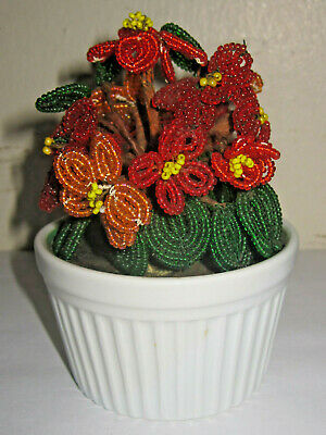 VINTAGE FRENCH HAND MADE BEADED GLASS SEED BEADS FLOWERS MINI BOUQUET IN VASE Glass Beaded Flowers