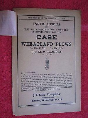 1931 Case No.113 No.114 Wheatland Plows Operators Parts Manual
