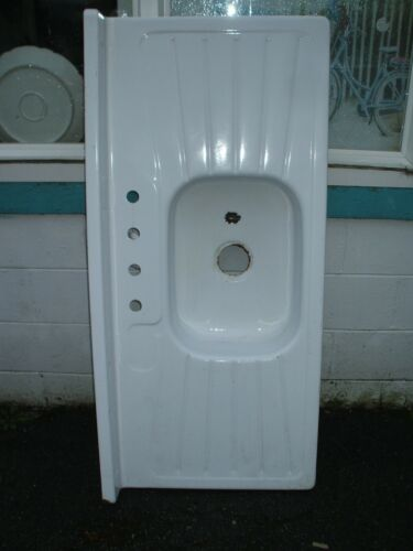 Antique Porcelain Over Metal Farmhouse Sink Double Drain Board