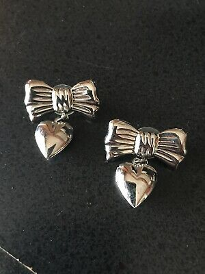 Women Silver Heart Photo Locket Snap Closure Piercing Earrings Best friend