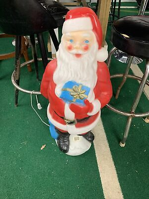 """Vintage Blow Mold SANTA CLAUS 33"""" EMPIRE 1971 with Present & Sack of Toys"""