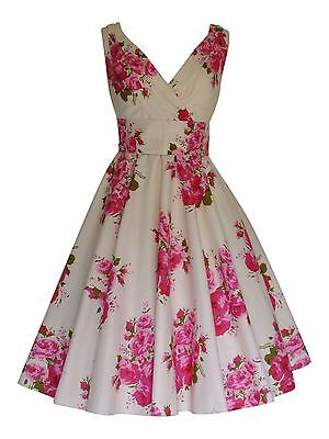 Pink Tea Party Dress (Vintage Pink Rose 50's Floral Cotton Party Prom Bridesmaid or Tea Dress New)