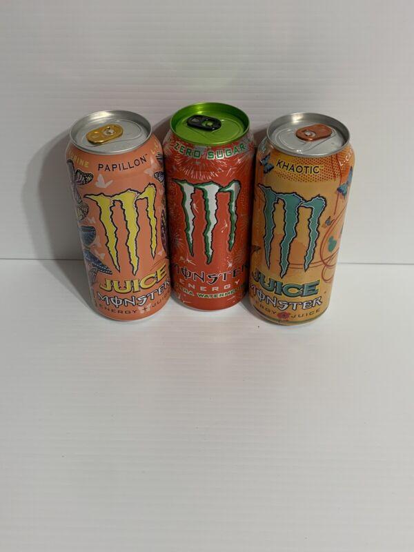 Monster Energy Drink Khaotic, Papillon & Ultra Watermelon. Set Of 3 Full Cans
