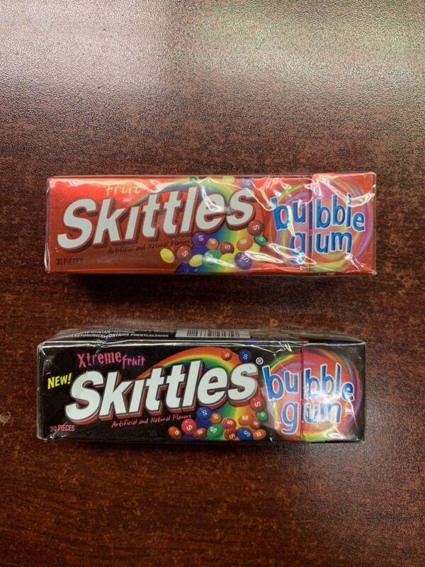 SKITTLES XTREME FRUIT & ORIGINAL FRUIT BUBBLE GUM SEALED 1 PACK OF EACH FLAVOR!