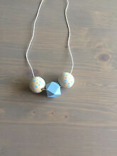 Geometric hand painted wooden bead necklace with hemp string Kensington Melbourne City Preview