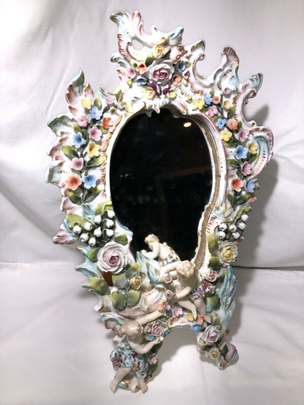 SITZENDORF PORCELAIN Table / Wall MIRROR FRAME Cherub Flower Candelabra