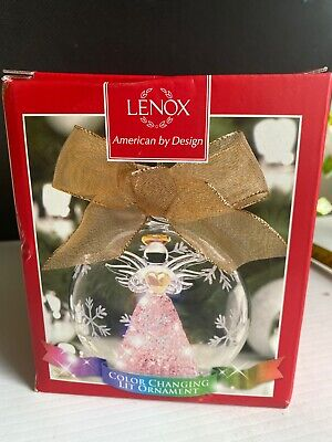 LENOX AMERICAN BY DESIGN CRYSTAL COLOR CHANGING ANGEL GLOBE