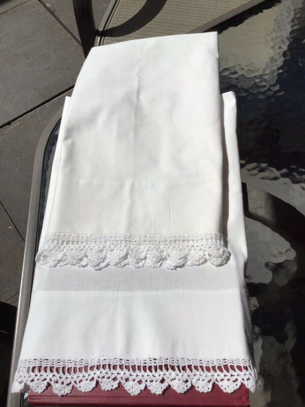 Pair Antique Linen Pillow Cases With Crocheted Edge