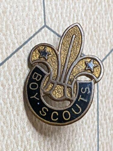 Vintage Metal Boy Scout Pin with Fluer de Lis - Birks-Ellis - Black/Gold Tone