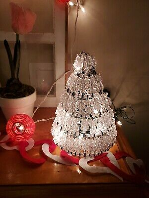 Vintage Safety Pin Christmas Tree Lighted Works 10 inches High ()