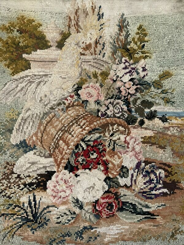 Antique Berlin Woolwork Needlepoint  Parrot On Basket Neoclassic Flowers
