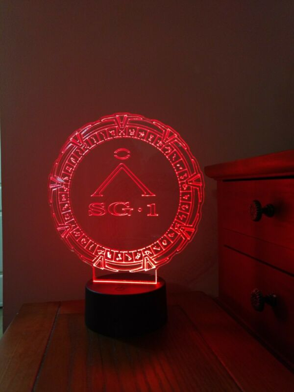 Stargate SG1 with glyphs acrylic LED night light,3D with remote 16 diff colors