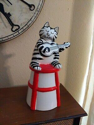 """VTG SIGMA KLIBAN CAT COOKIE JAR PLAYING GUITAR 10.5"""""""