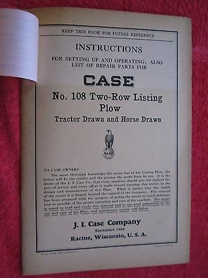 1932 Case No.108 Two-row Listing Plow Operators Parts Manual
