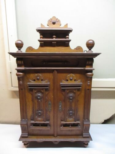 Antique Victorian Oak Wall Hanging/Standing Curio Cabinet Original Lock & Key
