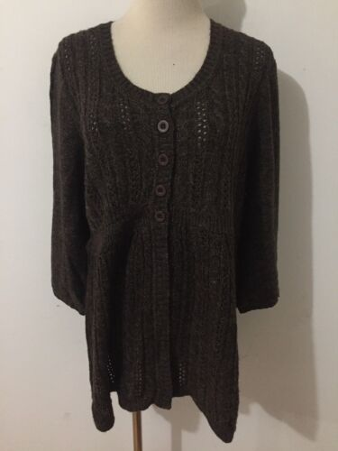 Motherhood Maternity Empire Cardigan Sweater Brown & Tan Heather Size XL