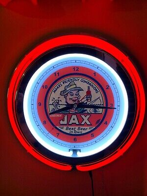 Jax New Orleans Beer Fishing Bar Man Cave Advertising Red Neon Clock Sign
