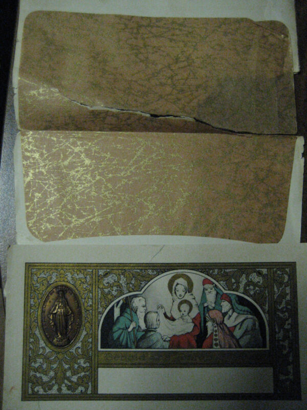 Vtg 1930 Art Deco NATIVITY Christmas Card w/Tissue Envelope Embossed Virgin Mary