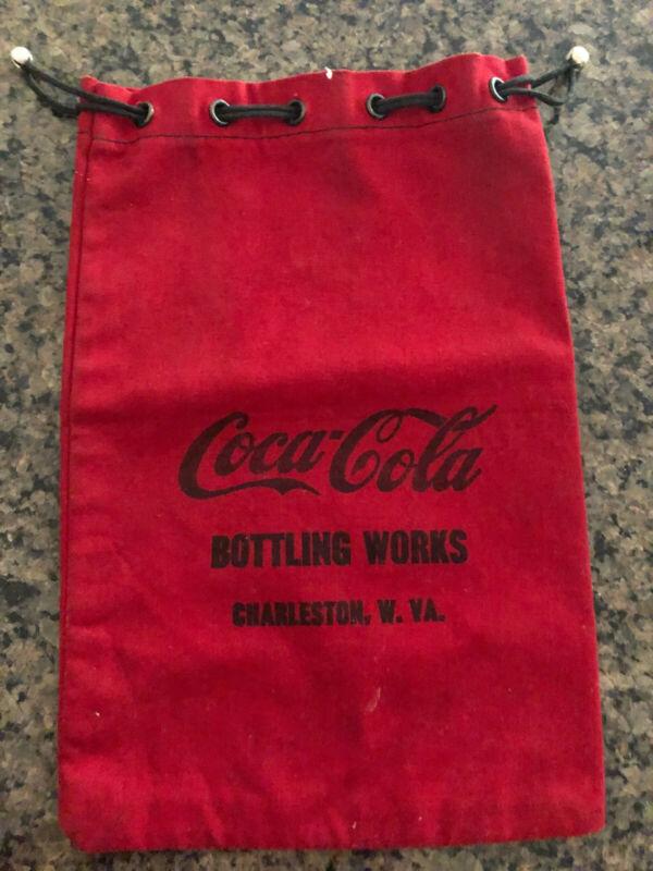 Rare Vintage Coca Cola Drawstring Red Canvas Money Bag, Charleston, WV